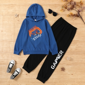 2-piece Kid Boy Letter Game Console Print Hoodie and Letter Print Elasticized Pants Set