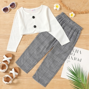 2-piece Toddler Girl Button Design Long-sleeve Crop Top and Houndstooth Pants Set