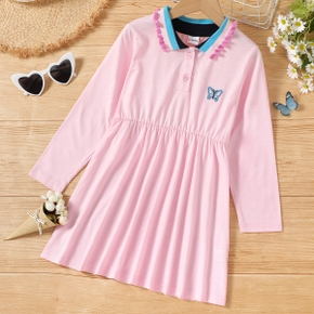 Kid Girl Striped Lapel Collar Butterfly Embroidery Button Design Pleated Long-sleeve Dress