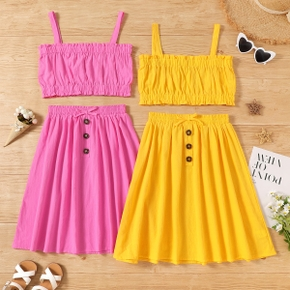 2-piece Kid Girl 100% Cotton Ruffled Solid Tank Top and Bow Button Design Skirt Set