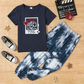 2-piece Kid Boy Letter Game Console Print Tee and Tie Dye Elasticized Pants Set