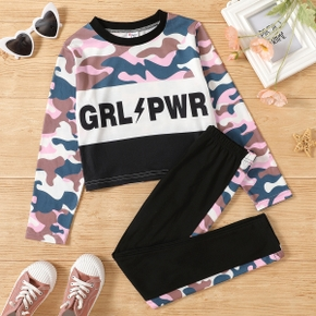 2-piece Kid Girl Letter Camouflage Print Colorblock Pullover and Elasticized Pants Set