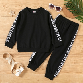 2-piece Toddler Boy Letter Print Pullover Sweatshirt and Elasticized Pants Casual Set