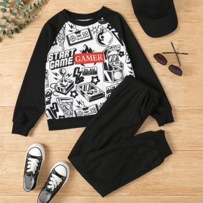 2-piece Kid Boy Letter Game Console Print Pullover and Elasticized Pants Set