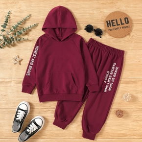 2-piece Toddler Boy Letter Print Hoodie Pullover with Pocket and Elasticized Pants Sporty Set