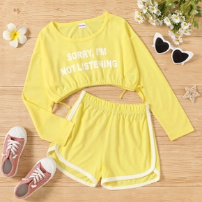 2-piece Kid Girl Sporty Letter Print Bow Decor Long-sleeve Top and Elasticized Shorts Set