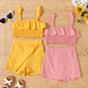2-piece Kid Girl Ruffled Solid Tank Top and Shorts Set
