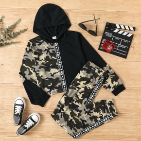2-piece Kid Boy Letter Camouflage Print Stitching Hoodie and Elasticized Pants Set