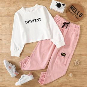 2-piece Kid Girl Letter Print Long-sleeve White T-shirt and Bowknot Design Pink Cargo Pants Casual Set