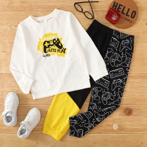 Fashionable Kid Boy Game Letter Print Colorblock 2-piece Casual Set