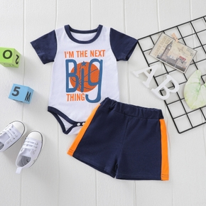 2pcs Baby Boy Short-sleeve Letter Print Cotton Baby's Sets