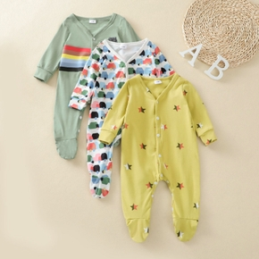 Baby Long-sleeve Print Color contrast Casual Jumpsuit