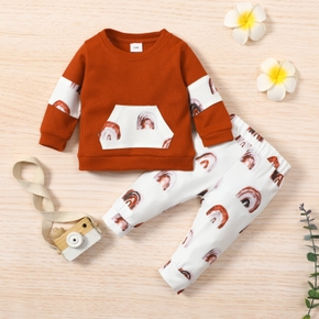 Baby 2pcs Brown Rainbow Print Splicing Waffle Long-sleeve Pullover and Trouser Set