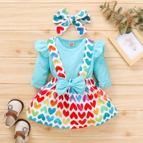 3pcs Baby Girl Heart-shaped Long-sleeve Cotton Romper  Sweet Suit-dress
