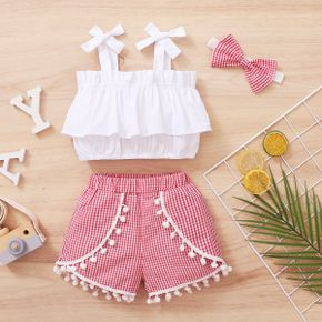 3pcs Summer Cotton Baby Girl Sweet Plaid Baby's Sets