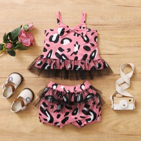 2pcs Baby Girl Sling Cotton Sweet Leopard Baby's Sets