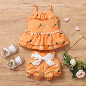 2pcs Baby Girl Sling Cotton Sweet Baby's Sets