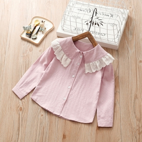 Baby / Toddler Lace Collar Solid Long-sleeve Shirt