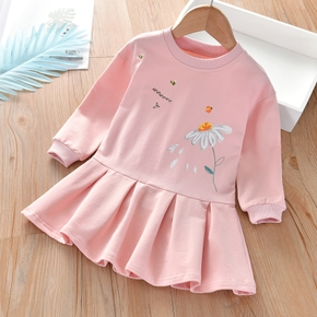 Baby / Toddler Girl Floral Print Animal Insect Pattern Solid Ruffled Long-sleeve Dress