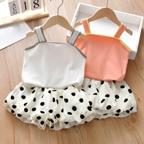 2-piece Toddler Girl Casual Camisole and Polka dots Bloomer Set