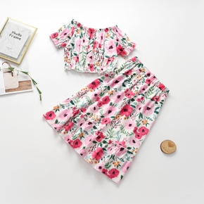 Beautiful Kid Girl 2-piece Vacation Style Flounced Floral Print Top Skirt Casual Set