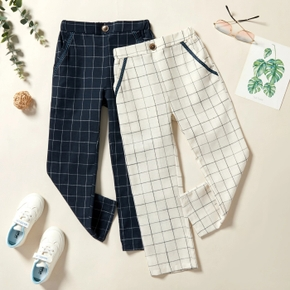 Kid Boy Casual Button design Plaid Pants with Pocket