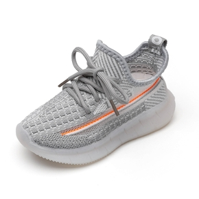 Toddler / Kids Breathable Knitted Striped Lace-up LED Sneakers