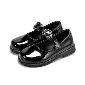 Toddler / Kid Solid Heart Buckle Sweet Flat Shoes