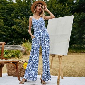 Pretty Blue Leopard Print Jumpsuit
