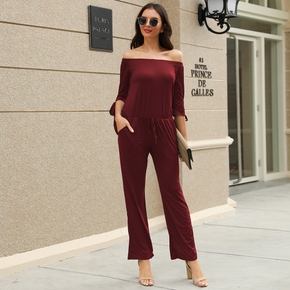 Casual Off-shoulder Jumpsuit