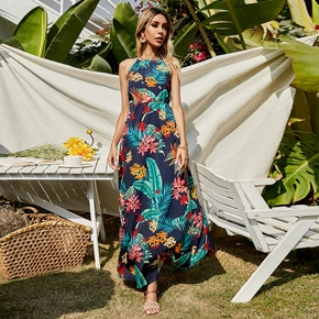 Vacation Floral Print Cocoon A Maxi Dress