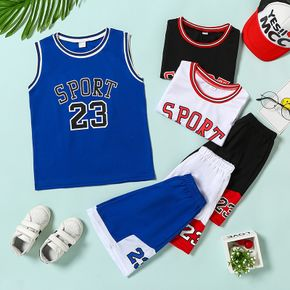 Trendy Kid Boy 2-piece Sleeveless Letter Number Print Shorts Suits