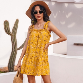Cami Floral Yellow Thin shoulder strap H Midi Dress