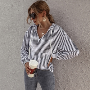 Striped V-neck Long-sleeve  Women Hoodie Pullover