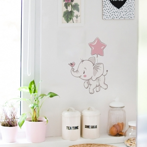 1 pc Cartoon Elephant Wall Sticker  Wallpaper Removable Adhesive Paper Decorative Waterproof