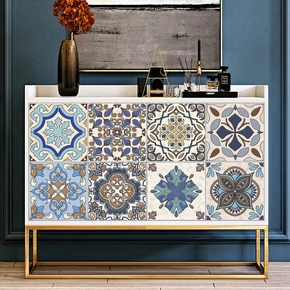 Dinning Room Kitchen Waterproof Environmental PVC Material Wall Sticker Vintage Moroccan Self-adhesive Durable Kitchen Oil and Waterproof Hard Film Stickers