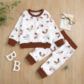 Baby 2pcs All Over Rainbow Print White Long-sleeve Pullover Set