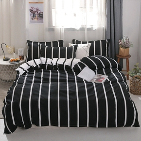 4-PCS Striped Cover Set Bedding Sets Comfort Cover Pillow Cases, Single Double Skin-friendly, Multi-specification, Universal in all seasons