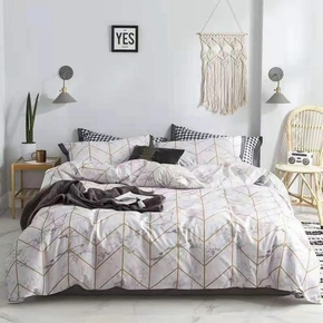 4-PCS Geometric Pattern Cover Set Bedding Sets Comfort Cover Pillow Cases, Single Double Skin-friendly, Multi-specification, Universal in all seasons