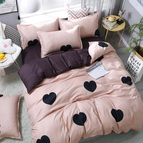 4-PCS Pink Heart Cover Set Bedding Sets Comfort Cover Pillow Cases