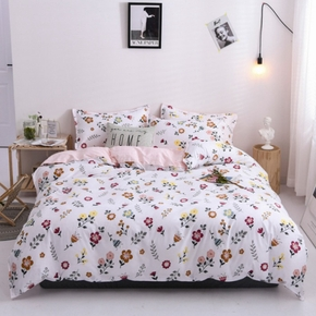 4-PCS Pink Flower Cute Gril Cover Set Bedding Sets Comfort Cover Pillow Cases