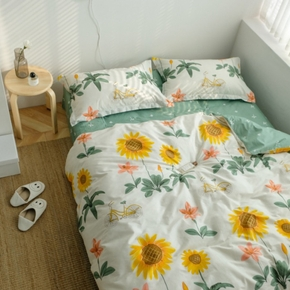 4-PCS Cotton Sunflower Fresh Light Green Cover Set Bedding Sets Comfort Cover Pillow Cases