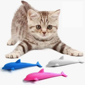 Cat Toy Silicone Fish Cat Toothbrush