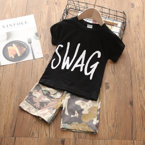 2-piece Toddler Boy Letter Print Tee and Camouflage Shorts Set
