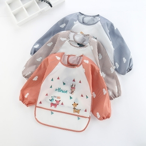 New Cartoon Fox Giraffe Baby Bibs Waterproof Infant Eating Long Sleeve Apron Baby Self Feeding Bib Baby Cloth