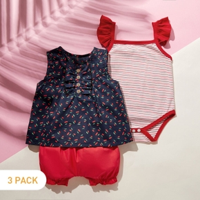 3pcs Baby Girl Sweet Cherry Stripe Flutter-sleeve Cotton Baby's Sets
