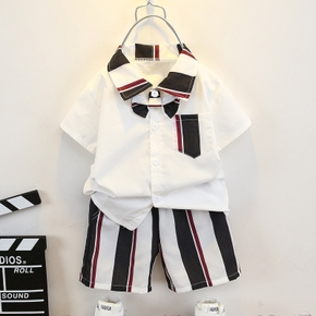 2-piece Toddler Boy Stripe Short-sleeve Shirt with Bow tie & Pocket and Stripe Shorts Set