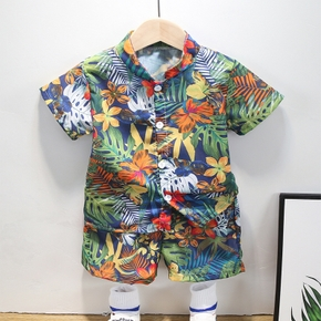 2-piece Toddler Boy Summer Print Shirt and Shorts Set