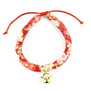 Japanese style cat collar and wind bell collar adjustable for small dogs