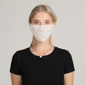 3-Layer Lace&Sequins Fabric Shell Half Face Mask For Ladies